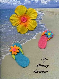 Write your names in the sand of this cute anniversary card. Personalized with the names of the couple.