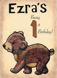 a cute bear on a brown card for a first birthday.