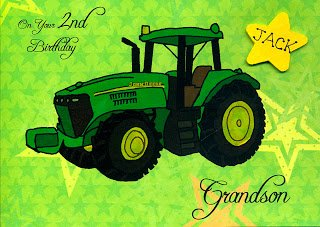 All boys love their toys and especially their tractors. Green tractor on a personalized card with name.