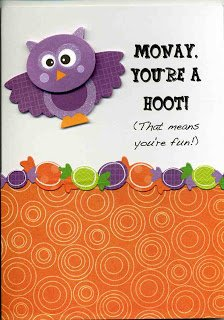 an adorable owl halloween card. Personalized with your kids name.