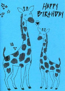 two cute giraffes to represent a big sister and a little sister. birthday card