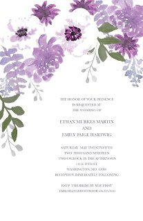 wedding invitation with beautiful purple watercolor flowers