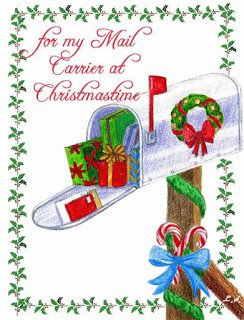 Christmas card for mail carrier with mailbox full of presents