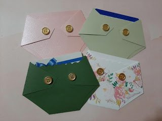 green, prink, floral diaper shaped baby shower gift card holder