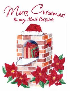 Holiday Thank you Card for Mailman with brick mailbox and poinsettias