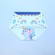 diaper shaped Gift Card Holder Baby Shower game prize with unicorn