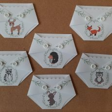 diaper shaped gift card holder for baby shower game prize woodland animals