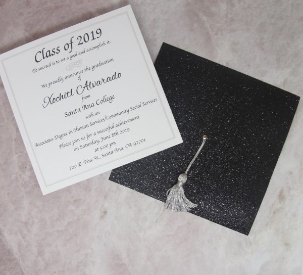 black glitter cap shaped graduation invitation or announcement