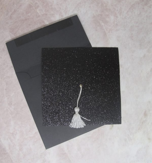 black glitter graduation invitation with black envelope