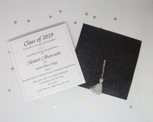 glitter graduation cap invitation with silver tassel