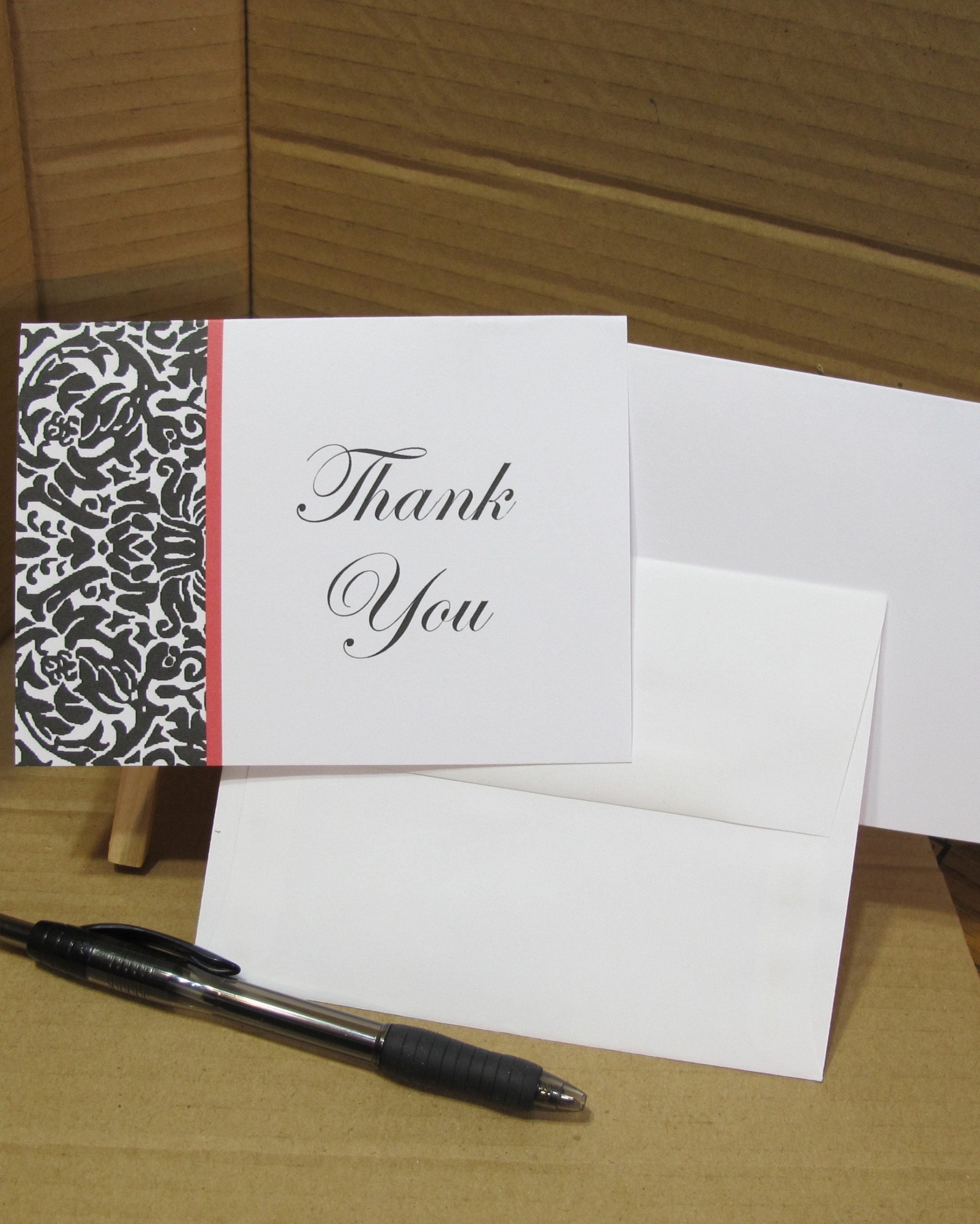 damask pattern  thank you  card pack of 10  wedding