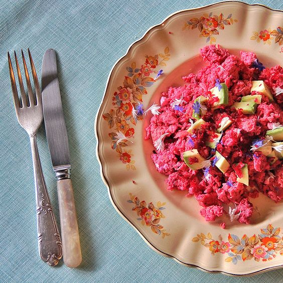 pink scrambled eggs for Easter Breakfast with Family