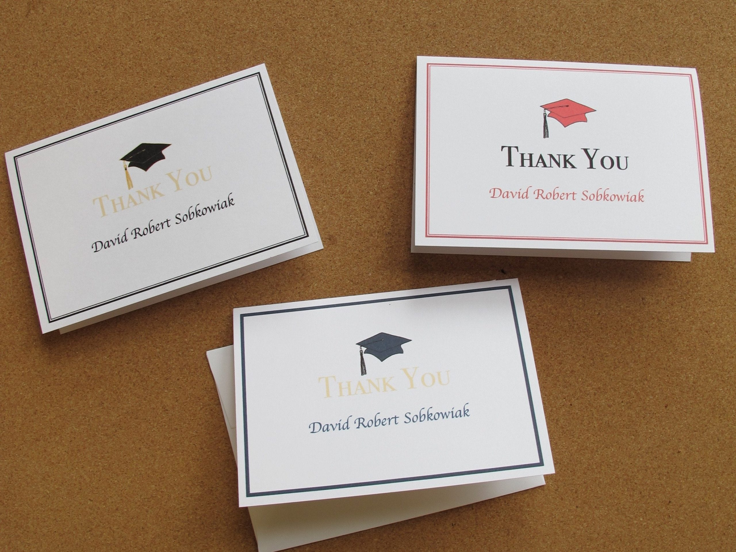 graduation thank you card with envelope  personalized