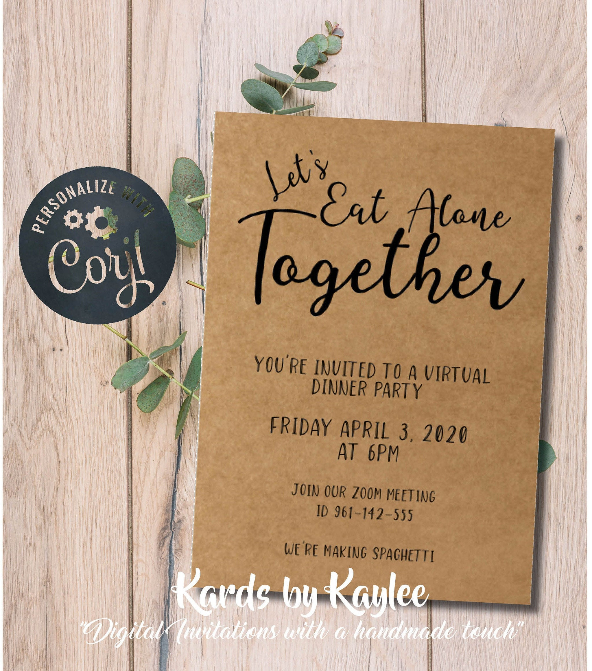 Virtual Dinner Party Invitation Instant Download Template - Kards by Kaylee