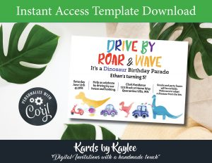 Dinosaur Drive by Birthday parade invitation