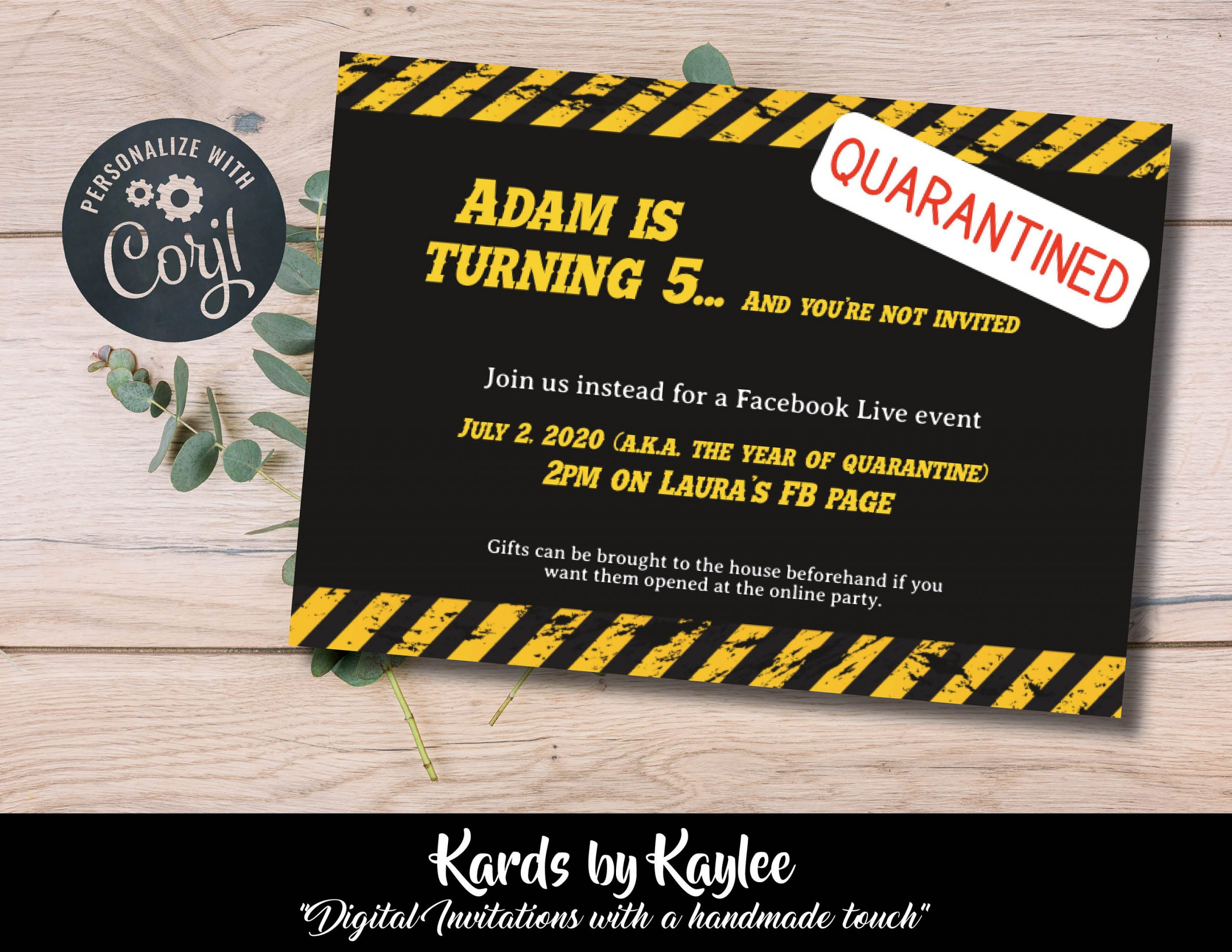 Quarantined Birthday Party Invitation - You're Not Invited Instant Download  Template - Kards by Kaylee