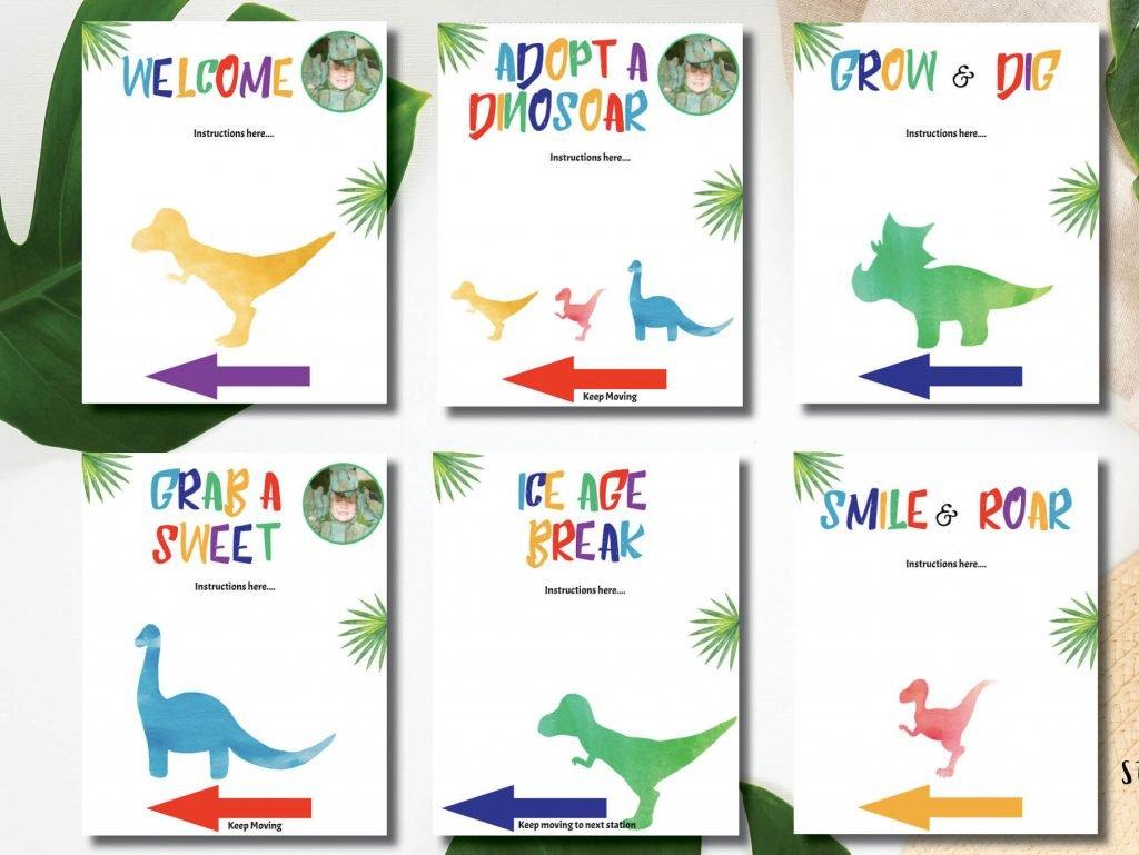 dinosaur drive thru birthday party signs
