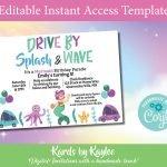 mermaid drive by birthday parade invitaion