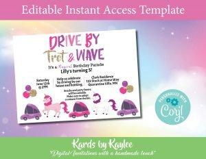 unicorn drive by birthday parade invitation
