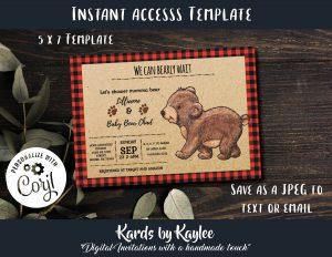 buffalo plaid bear baby shower invitation
