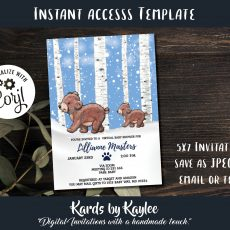 Bear virtual baby shower invitations