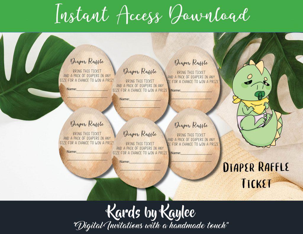 dinosaur baby shower diaper raffle tickets