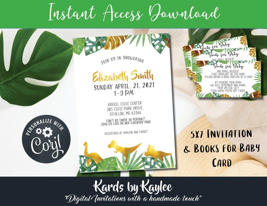 green and gold dinosaur baby shower invitation