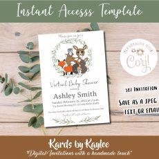 woodland animal virtual baby shower invitation