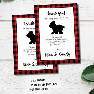 buffalo plaid thank you note with a bear